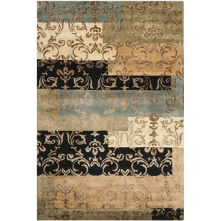Best Grantfork Hand-Tufted Black/Dark Gold Area Rug By Red Barrel Studio