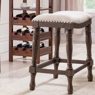 Argonaut Wood and Linen Saddle Counter 25'' Bar Stool (Set of 2) Alcott Hill