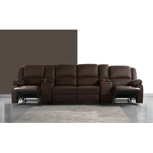4 Seat Home Theater Sofa with Cup Holder By Red Barrel Studio
