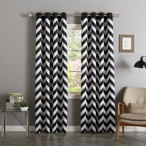 Alondra Chevron Semi-Sheer Curtain Panels (Set of 2)