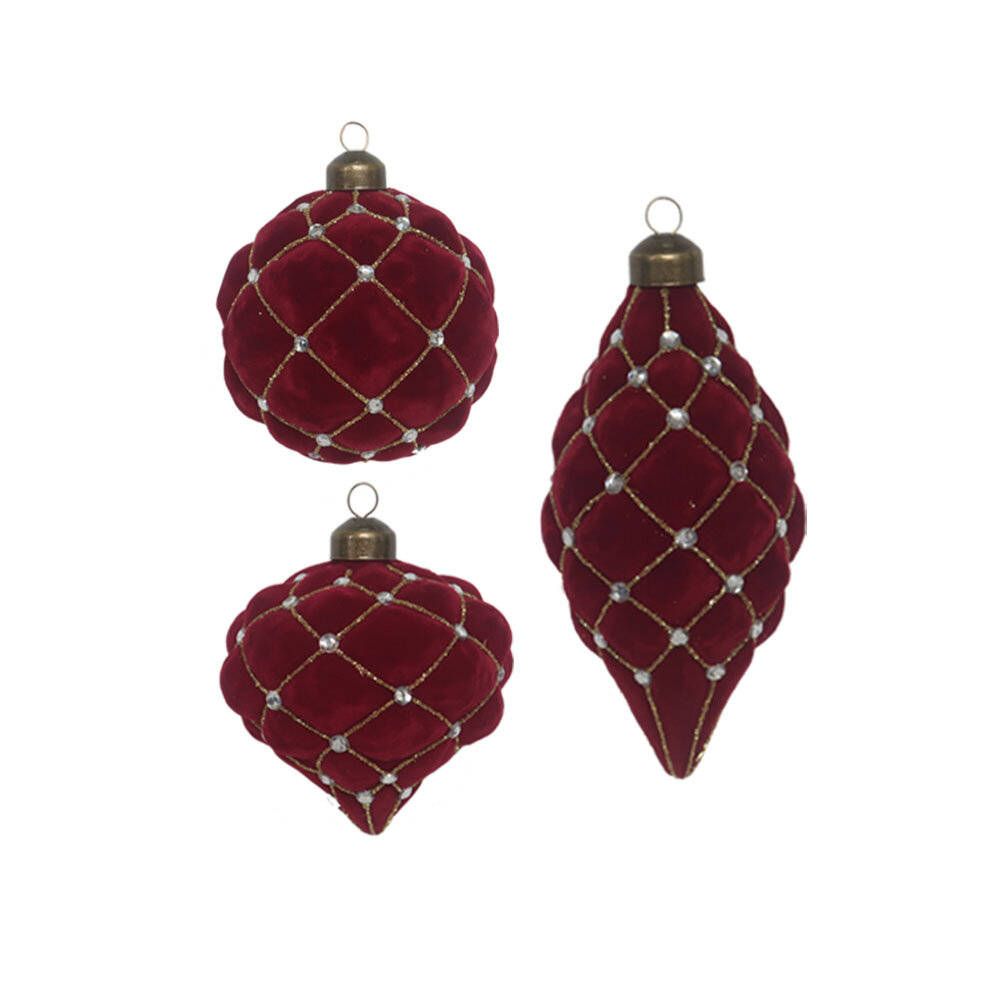 3 Piece Glass Flocking Holiday Shaped Ornament Set Joss Main