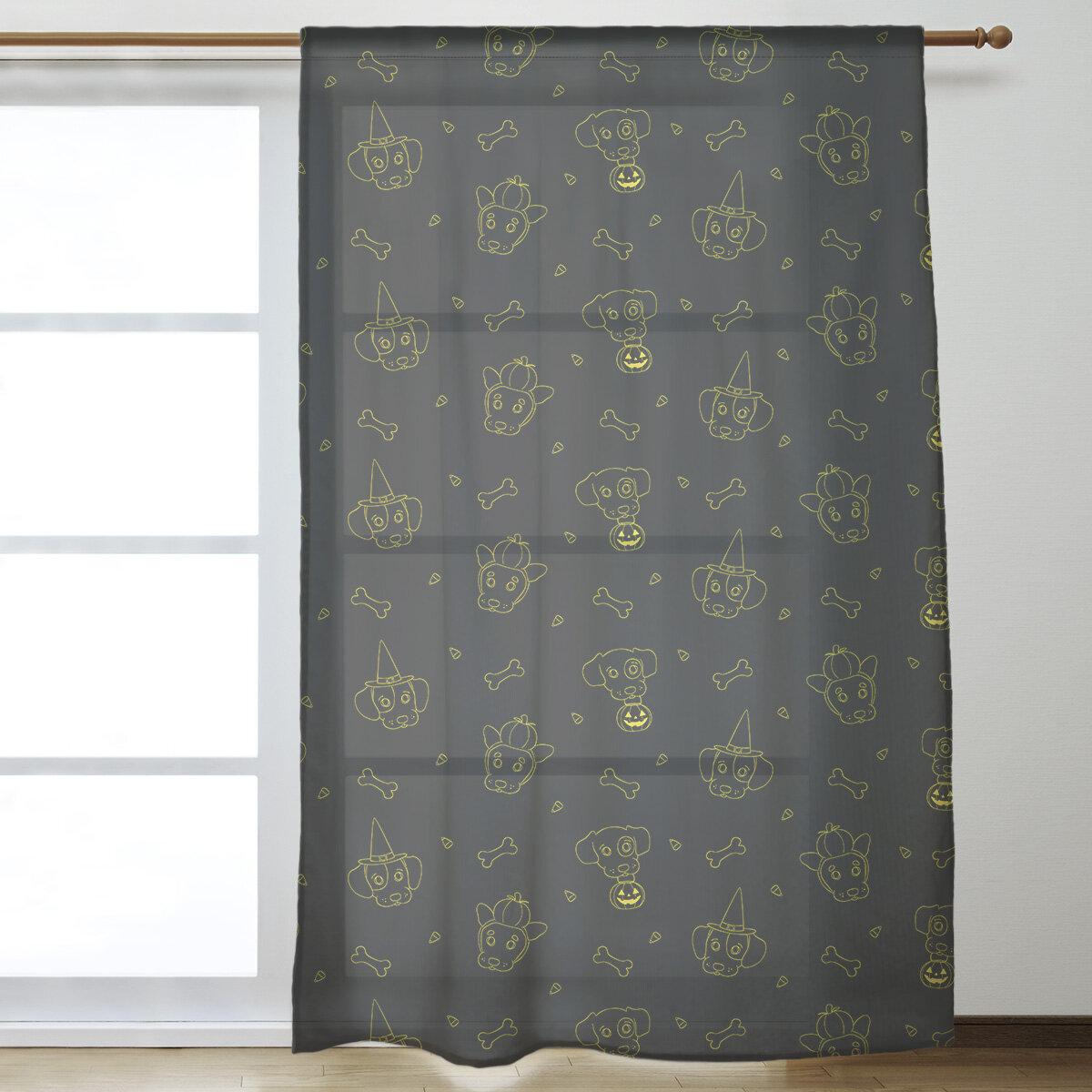 East Urban Home Halloween Dogs Sheer Rod Pocket Single Curtain Panel Wayfair