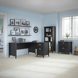 Connecticut 3 Piece L-Shape Desk Office Suite by Kathy Ireland Home Bush Furniture Amazing