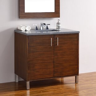 Cordie Modern 36 Single American Walnut Hardwood Base Bathroom Vanity Set by Orren Ellis