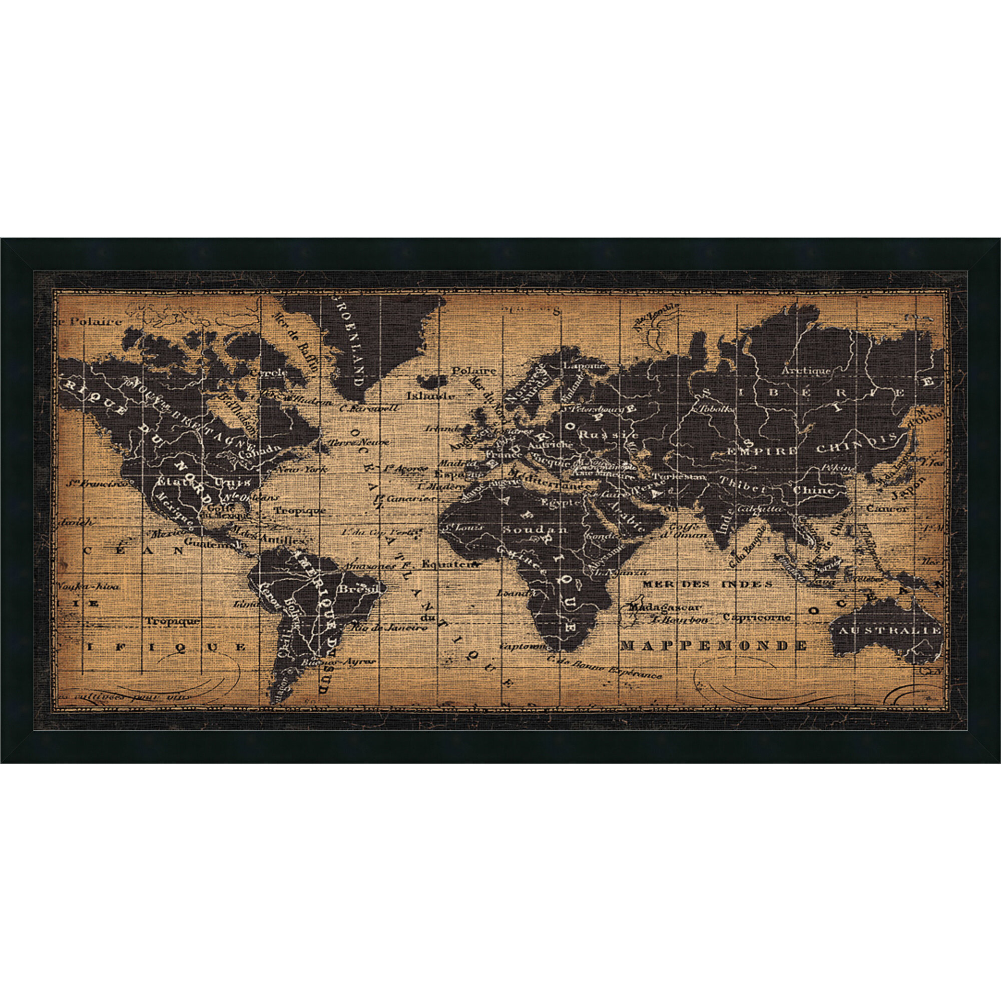 World Menagerie \'Old World Map\' Framed Graphic Art | Wayfair
