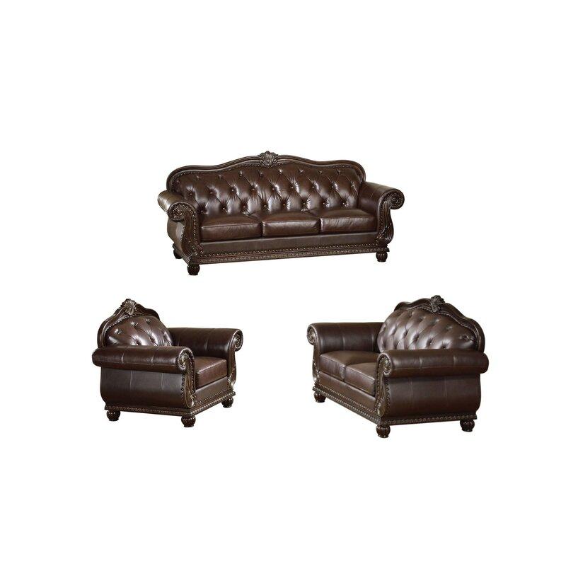 Astoria Grand Longley 3 Piece Leather Standard Living Room Set Wayfair