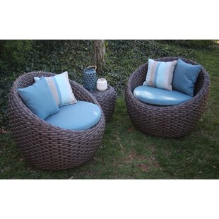 Corona 3 Piece Sunbrella Conversation Set with Cushions