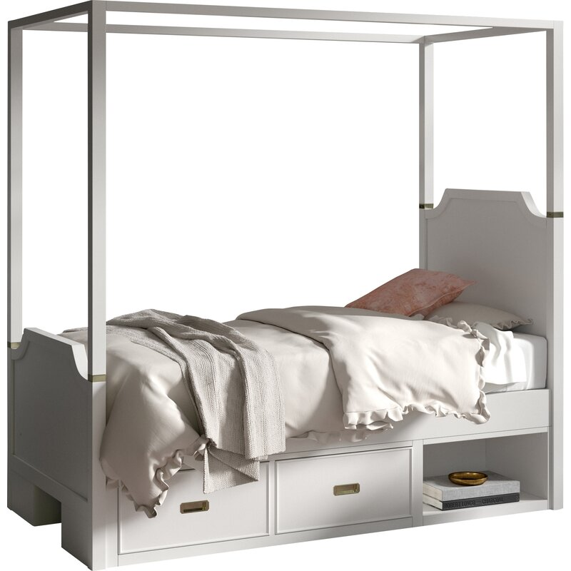Tazewell Canopy Bed With Two Storage Drawer Units