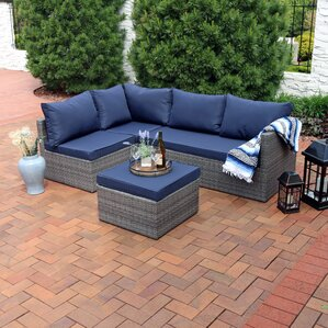 Beautiful Stahl Wicker Rattan 4 Piece Patio Sofa Sectional Set With Cushions