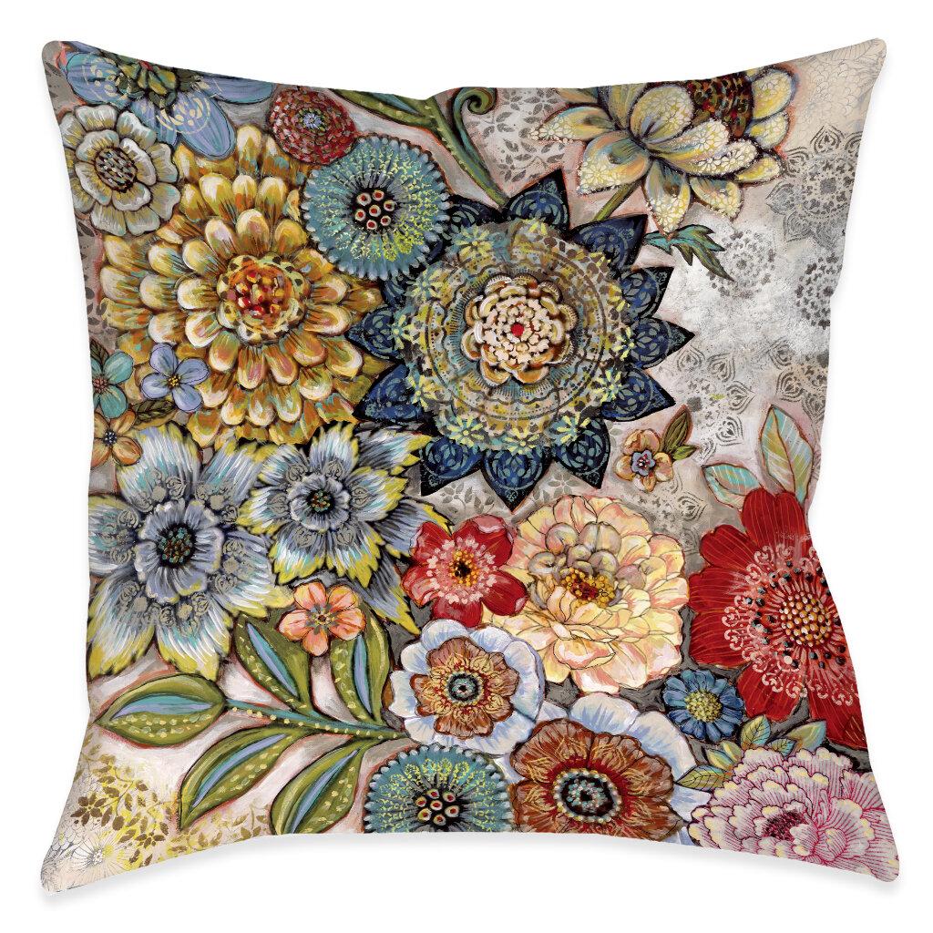 Winston Porter Haskell Boho Bouquet Indoor Outdoor Throw Pillow Reviews Wayfair