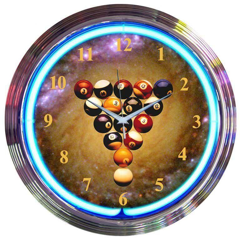 Bar And Game Room 15 Billiards Space Balls Wall Clock