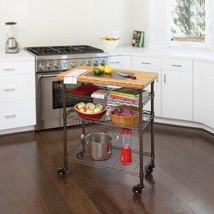 Ondina Bamboo Top Chef's Table Kitchen Cart Wood Winston Porter