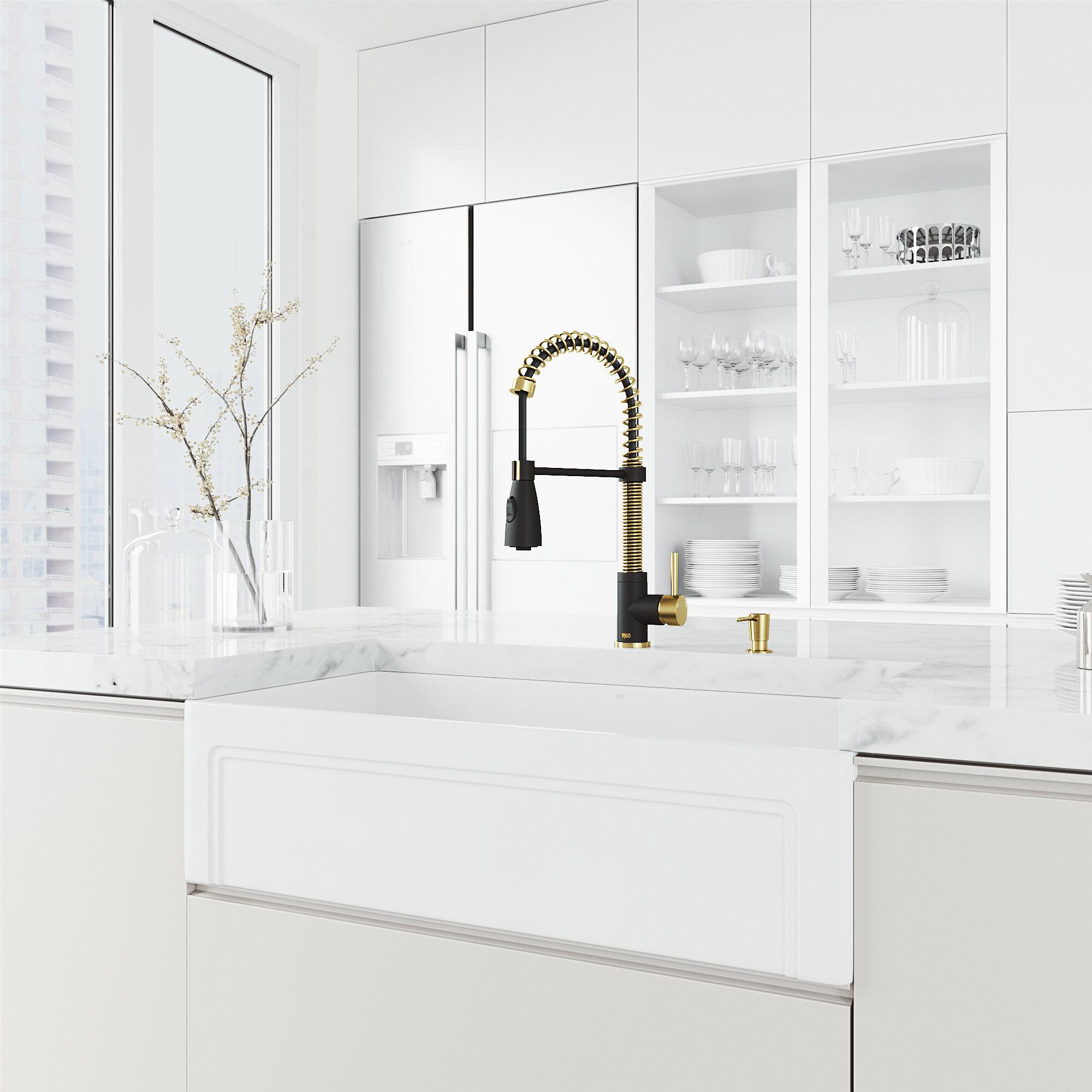 Vigo 36 L X 18 W Farmhouse Kitchen Sink With Faucet And Soap Dispenser Reviews Wayfair