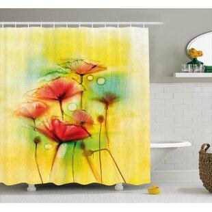 Inexpensive Lamb Poppy Flowers Motif Shower Curtain ByWinston Porter