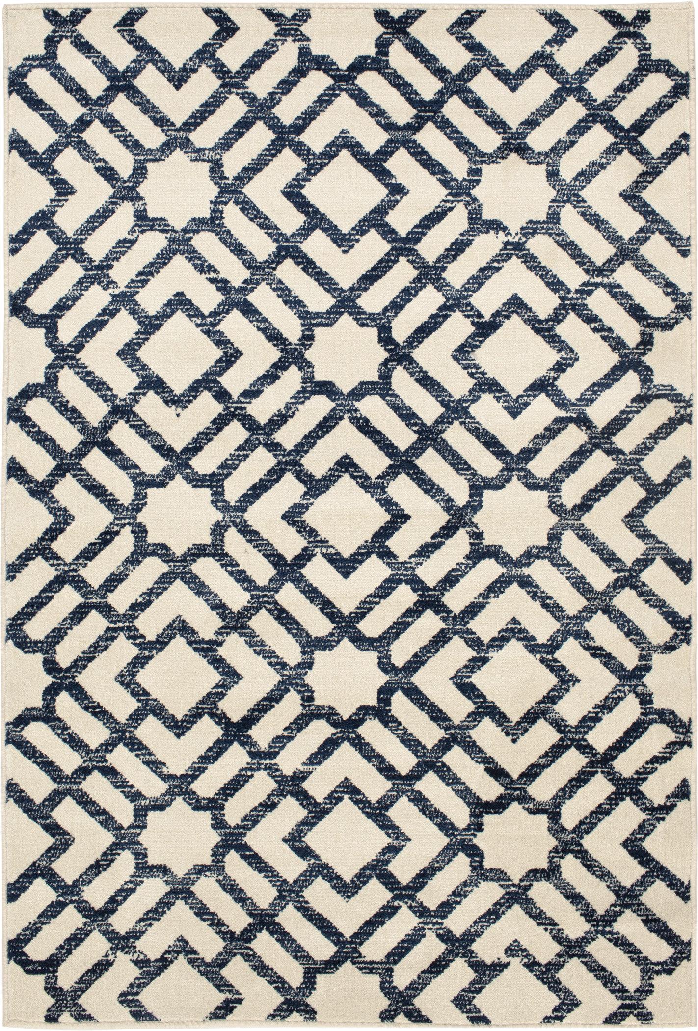Trisha Yearwood Home Collection Renew Newell Geometric Snow Sapphire Indoor Outdoor Area Rug Wayfair