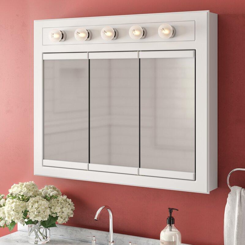 Winston Porter Searle Surface Mount Framed 3 Doors Medicine Cabinet With 2 Shelves And Lighting Reviews Wayfair