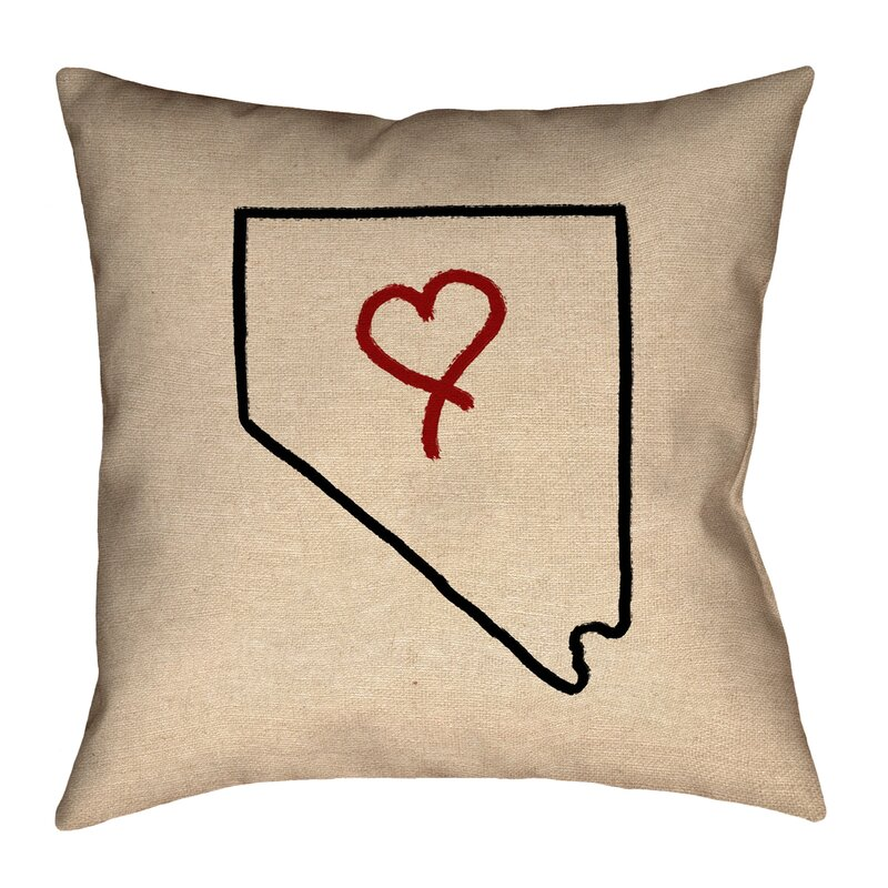 Ivy Bronx Giorgi State Love Outline In Poly Twill Double Sided Print Throw Pillow