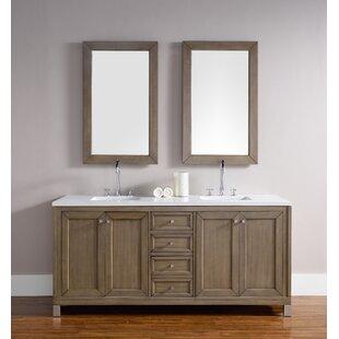 Valladares 72 Double White Washed Walnut Wood Base Bathroom Vanity Set by Brayden Studio