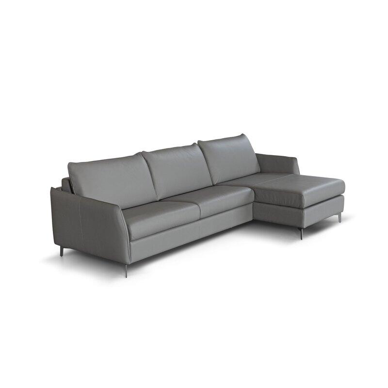 Corrigan Studio Benavidez Genuine Leather Reversible Sleeper Sofa Chaise Wayfair