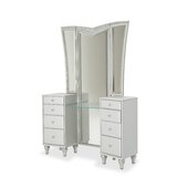 Melrose Plaza Upholstered Vanity with Mirror by Michael Amini