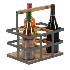 Campa Modern Wood and Metal 6-Bottle Tabletop Wine Bottle Rack by Ivy Bronx