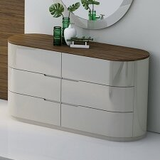 Lisa 6 Drawer Double Dresser with Mirror