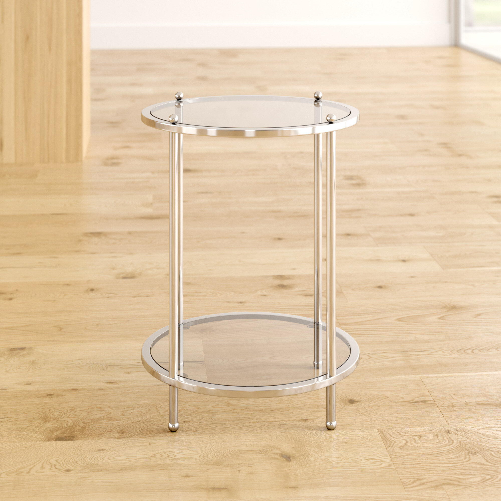 Willa Arlo Interiors Cathleen Glass Top End Table With Storage Reviews Wayfair