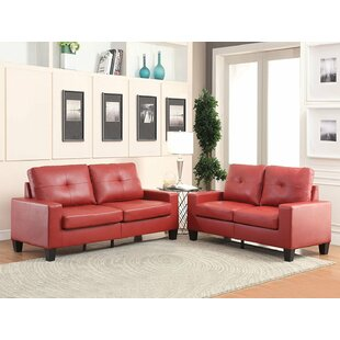 Fishponds Standard Buttonless Tufted Seat and Backrest PU Living Room Set by Latitude Run