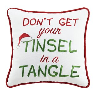 Tinsel in a Tangle Holiday 100% Cotton Throw Pillow