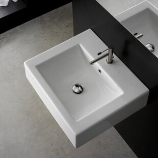 Deals Ceramic 21 Wall Mount Bathroom Sink with Overflow ByScarabeo by Nameeks