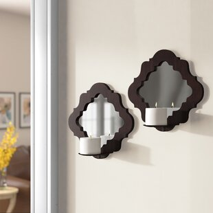 Wood Damask Mirrored Wall Sconce (Set of 2)