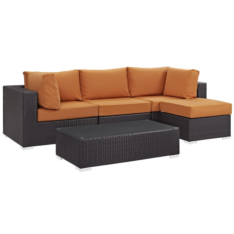 Sol 72 Outdoor  Brentwood 5 Piece Rattan Sectional Set with Cushions Fabric: Orange