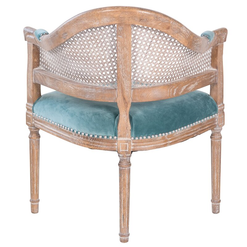 Fae French Antique Cane and Velvet Barrel Chair - Joseph Allen Fae French Antique Cane And Velvet Barrel Chair