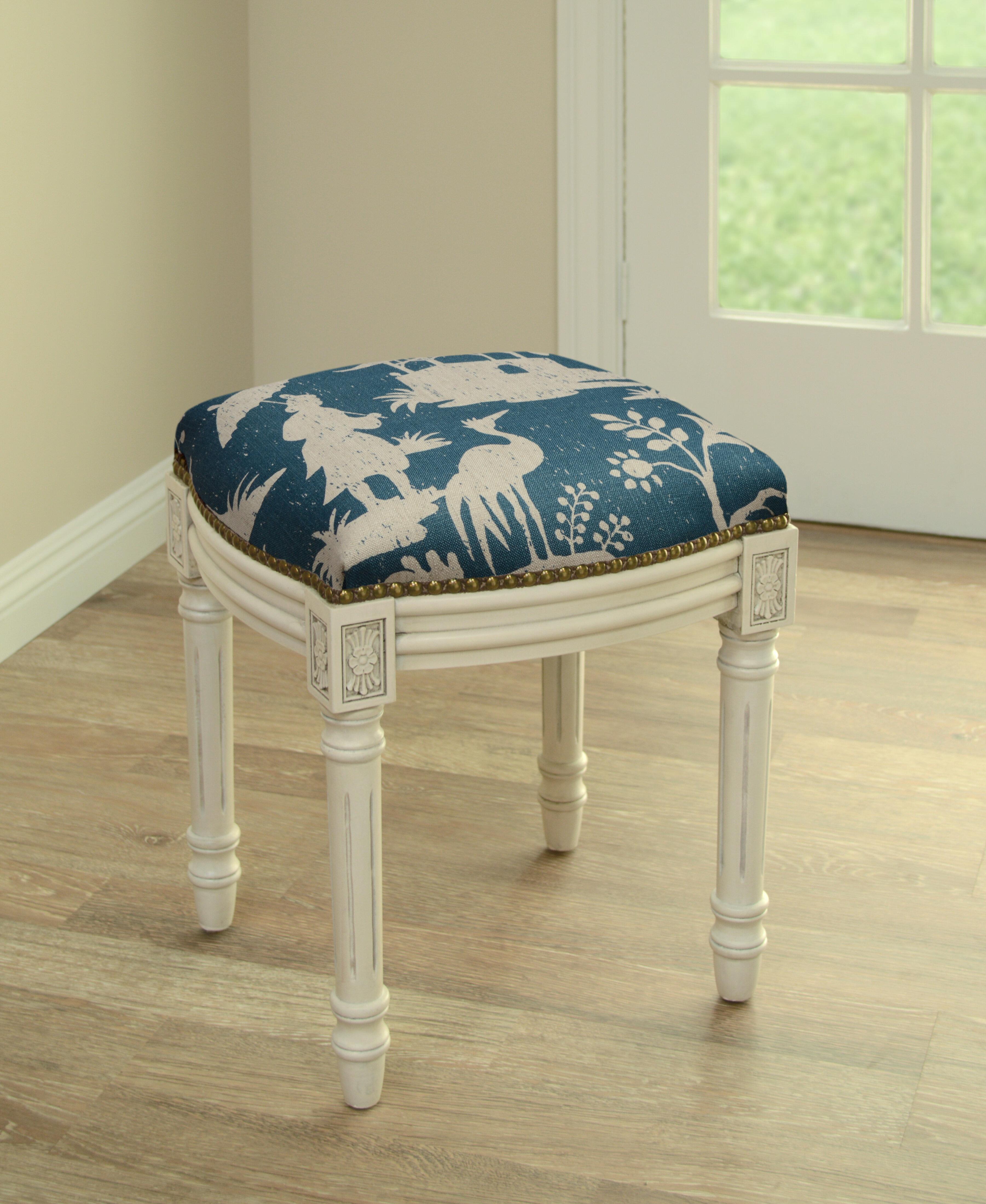 Magnificent World Menagerie Artic Chinoiserie Linen Upholstered Vanity Spiritservingveterans Wood Chair Design Ideas Spiritservingveteransorg