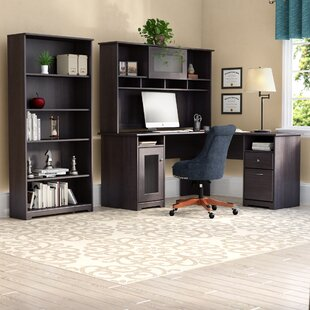 Hillsdale L-Shape Desk with Hutch and 5 Shelf Bookcase