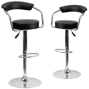 Damian Adjustable Height Swivel Bar Stool (Set of 2) Wrought Studio