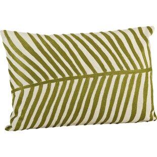 Stach Embroidered Palm Design Cotton Lumbar Pillow