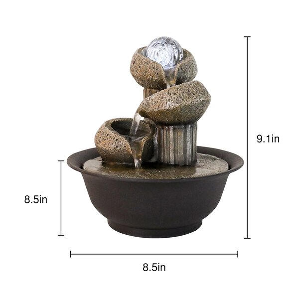 Dakota Fields 3 Tier Column And Bowl Tabletop Water Fountain Zen Meditation Indoor Fountain With Ball Accent Led Light For Home Office Bedroom Relaxation Wayfair Ca