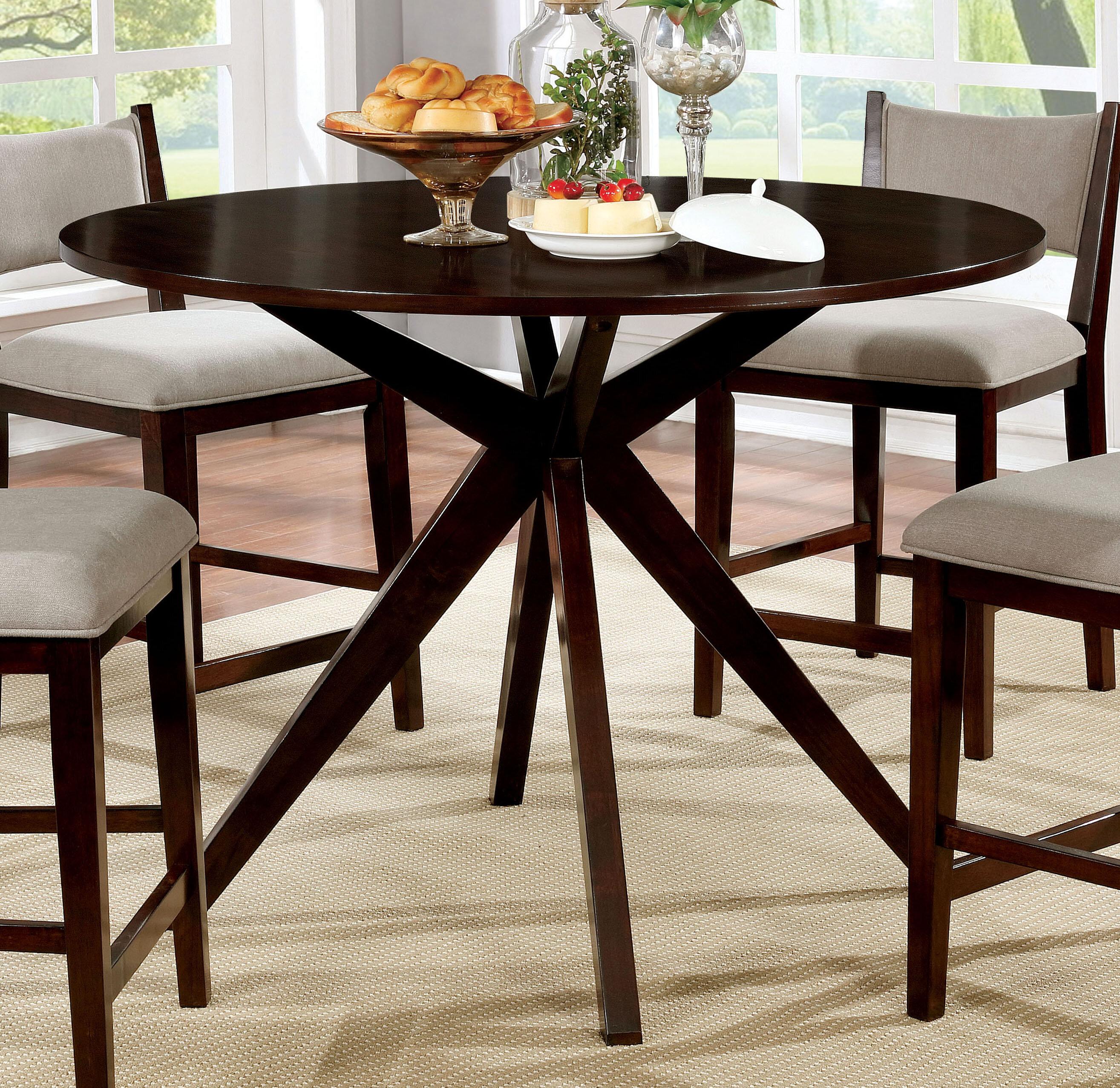 Wrought Studio Goza Mid Century Modern Round Counter Height Solid Wood Pub Table Wayfair