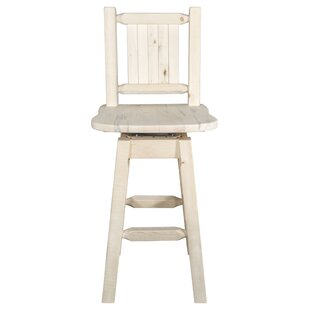 Abella Rustic Slat Back 30 Swivel Barstool Loon Peak