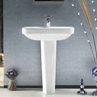 Read Reviews Noura Ceramic 32 Rectangular Pedestal Bathroom Sink with Overflow ByCeraStyle by Nameeks