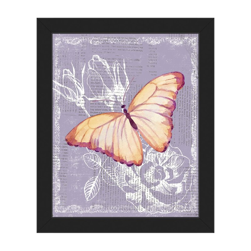 Click Wall Art Yellow Butterfly On Purple Framed Graphic Art On Canvas Wayfair