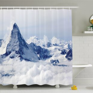 Lake Mountain Summit Magical Scenery Natural Paradise Pattern Shower Curtain Set