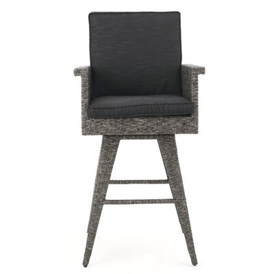"Furst Outdoor Wicker 30"" Patio Bar Stool with Cushion by Wade Logan"