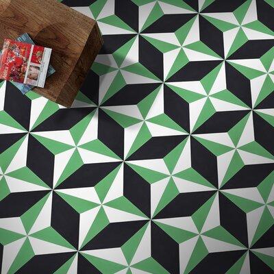 Diamond 8 x 8 Cement Field Tile Moroccan Mosaic Color: Green/White