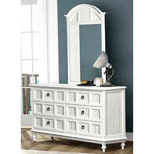 Key West 6 Drawer Double Dresser with Mirror