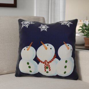 Decorative Snowmen Geometric Print Throw Pillow