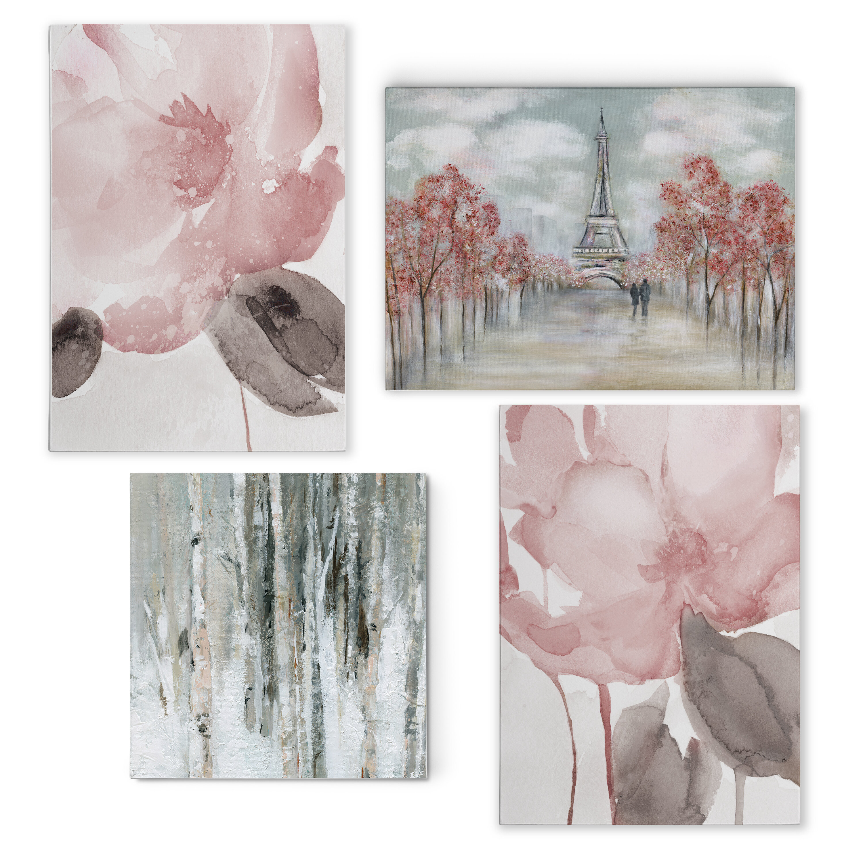 Ophelia Co Contemporary Pink 4 Piece Painting Print Set On Canvas Reviews Wayfair