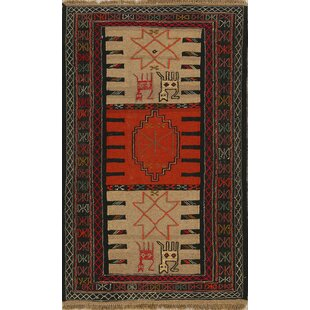 Online Reviews One-of-a-Kind Penning Tribal Animal Character Kilim Persian Hand-Knotted 3'4 x 5'7 Wool Rust/Brown/Black Area Rug By Isabelline