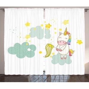 Matteo Unicorn Baby Unicorn Girl Sitting On Fluffy Clouds And Hunting  Nursery ImageGraphic Print U0026 Text